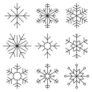 Snowflake flat line icon