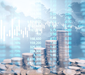 graph coins stock finance  business concept