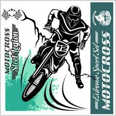 Motocross Rider - vector emblem and logos