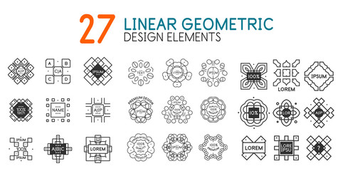 Vector collection of linear geometric monograms for your text.