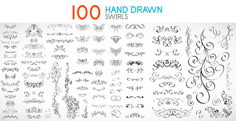Vector hand drawn swirls and curves design elements