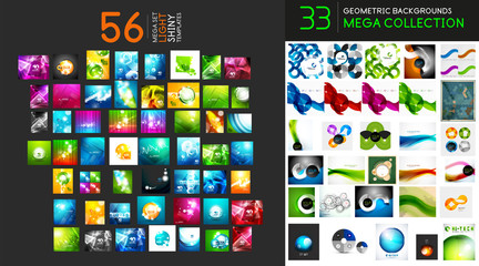 Vector mega collection of geometric, shiny hi-tech abstract backgrounds