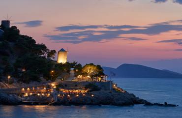 Beautiful sunset at Hydra island