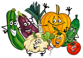 vegetable characters group cartoon illustration