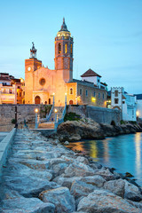 Church of Sant Bertomeu and Santa Tecla in Sitges by night.Costa Brava, Spain.