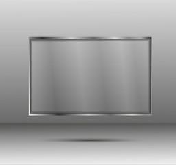 Vector transparent banner in a metal frame