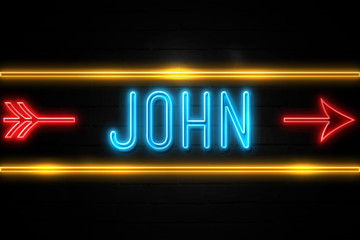 John  - fluorescent Neon Sign on brickwall Front view
