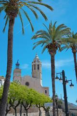 Church of Sant Bertomeu and Santa Tecla in Sitges.Costa Brava, Spain.