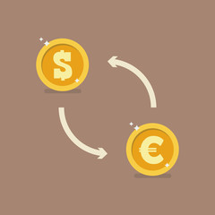 Euro and Dollar currency exchange