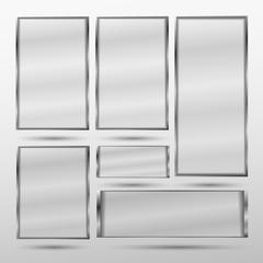 Set transparent minimalistic banner with metal frame