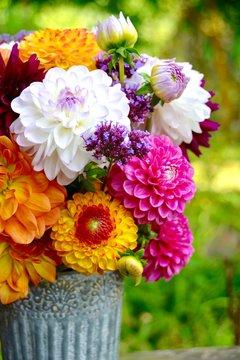 Grußkarte - Dahlien Blumenstrau