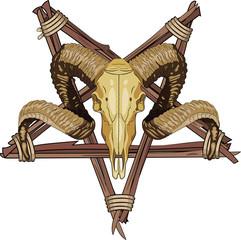 Aries bighorn skull and Inverted pentagram
