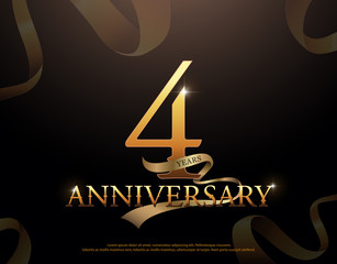 4 year anniversary celebration logotype template. 4th logo with ribbons on black background