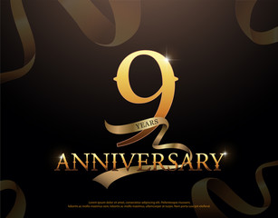 9 year anniversary celebration logotype template. 9th logo with ribbons on black background