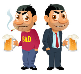 Two guys with beer. They have bad habits but they do not despond. Oktoberfest Party or just a weekend. Cartoon styled vector illustration. Isolated on white. No transparent objects.