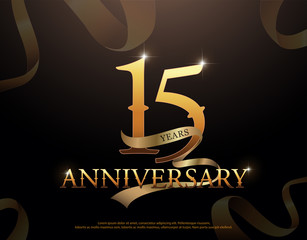 15 year anniversary celebration logotype template. 15th logo with ribbons on black background