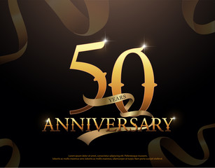 50 year anniversary celebration logotype template. 50th logo with ribbons on black background