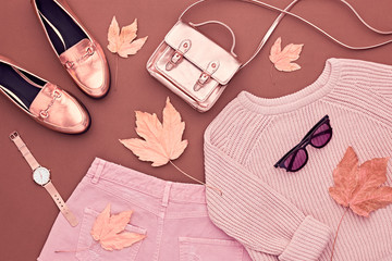 Autumn Arrives. Fashion Lady Clothes Set. Trendy Cozy Knit Jumper. Fashion Stylish Gold Handbag Clutch, Glamour Shoes, Sunglasses. Fall Leaves. Vanilla Pastel colors. Wall mural