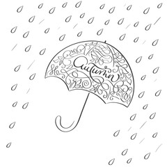 autumn word in vintage illustration umbrella with rain on white background. Hand drawn Calligraphy lettering Vector illustration EPS10
