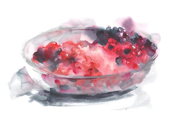 Watercolor illustration of berries in glass plate isolated on white.