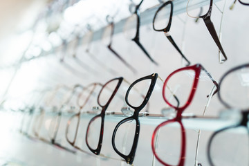 Eyeglasses frames in optical store.