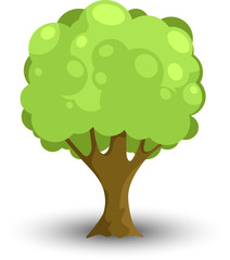 Cartoon Forest or Park Tree Isolated on White Background. Vector Illustration with Shadow.