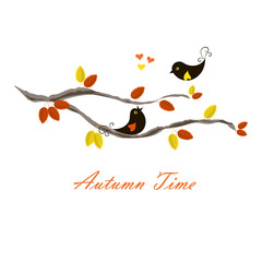 Typography banner Autumn time, black birds on branch with orange and yellow leaves, hearts on white stock vector illustration