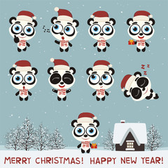Merry Christmas and Happy New Year! Set funny panda bear in various poses for christmas decoration and design. Collection isolated panda bear in cartoon style.