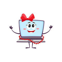 vector flat cartoon funny laptop humanized female girl character with arms, legs and face , wearing red bow and beards smiling. Isolated illustration on a white background.