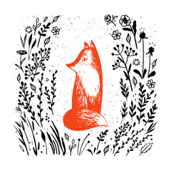 Hand drawn fox, flowers and plants. Vector illustration.