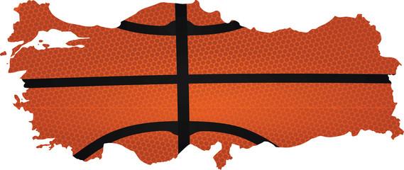 Turkey map-basketball pattern. vector illustration