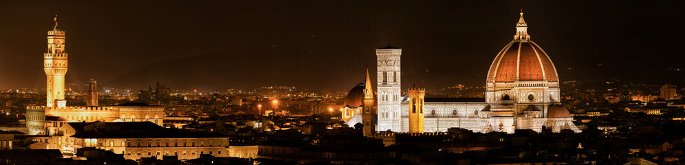 Spoed Fotobehang Florence Cathedral Santa Maria of Flowers, Arnolfo Tower and the Palazzio Vecchio, Duomo, Florence, Tuscany, Italy, Europe. Two Master Pieces of Monuments are glowing over the town in the Night.