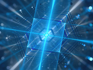 Blue glowing futuristic quantum processor