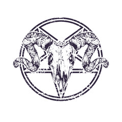 Beautiful goat skull with pentagram. Drawn by hand. Dark gothic illustration. It can be used for printing on t-shirts, postcards, or used as ideas for tattoos.
