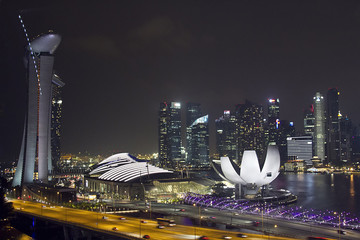 Night view of Singapore from a bird's eye view