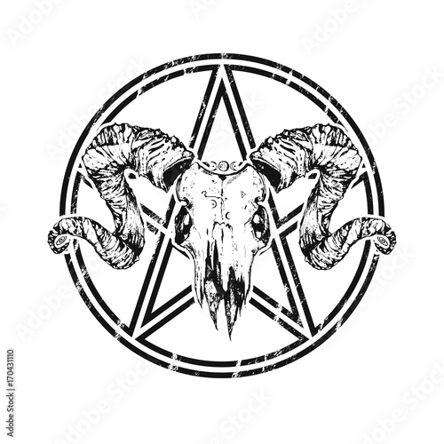 Beautiful Goat Skull With Pentagram Drawn By Hand Dark Gothic