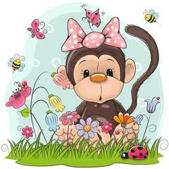 Cute Cartoon Monkey on a meadow