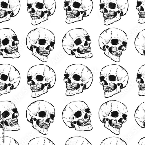 f22a9af542 Seamless pattern with skulls. White and black colors. Grange stile.  Repeating background.