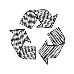 Black drawn sign of recycling on a white background. Good element for eco design. Grange style. Save environment.
