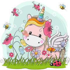 Cute Cartoon Unicorn on a meadow