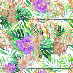 Colorful Floral Background; Digital Effects Seamless Pattern