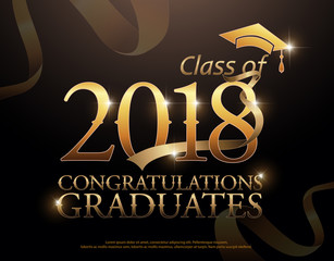 Class of 2018 Congratulations Graduates  gold text with red ribbons on dark background