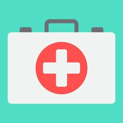 First aid kit box flat icon, medicine and healthcare, medical case sign vector graphics, a colorful solid pattern on a cyan background, eps 10.