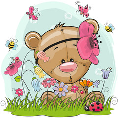 Cute Cartoon Teddy Bear girl on a meadow with flowers and butterflies
