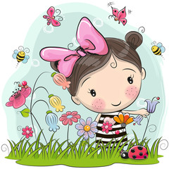 Cute Cartoon Girl on a meadow