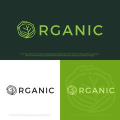 Vector set of organic logo with corporate identity design templates. emblems for natural, company logo, organic food products and packaging, organic logo with vegetable icon
