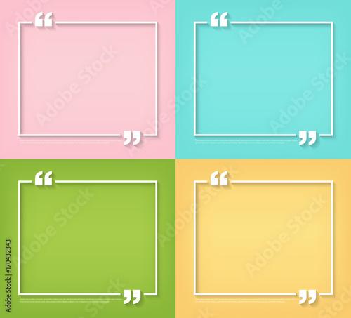 Text Quote Bubble Symbol Blank Templates Empty Square Quote Bubble
