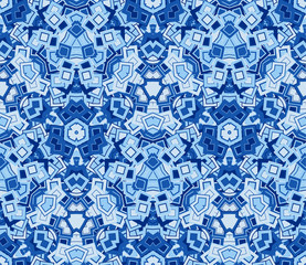 Blue abstract seamless pattern, background. Composed of geometric shapes. Useful as design element for texture and artistic compositions.