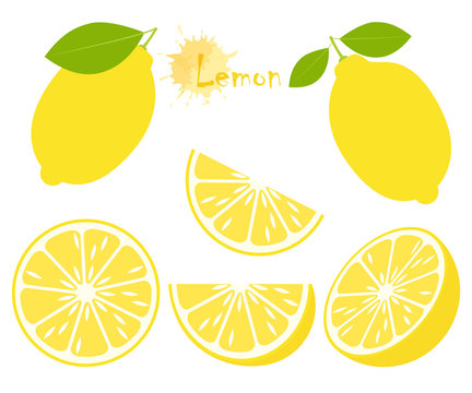 Lemon with green leaves, slice citrus isolated on white background. Tropical fruits. Raw and vegetarian food. Vector illustration.