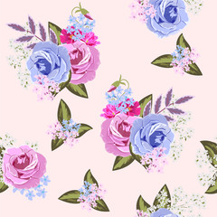 Seamless vintage pattern with beautiful roses. Hand-drawn floral background for textile, cover, wallpaper, gift packaging, printing.Romantic design for calico.